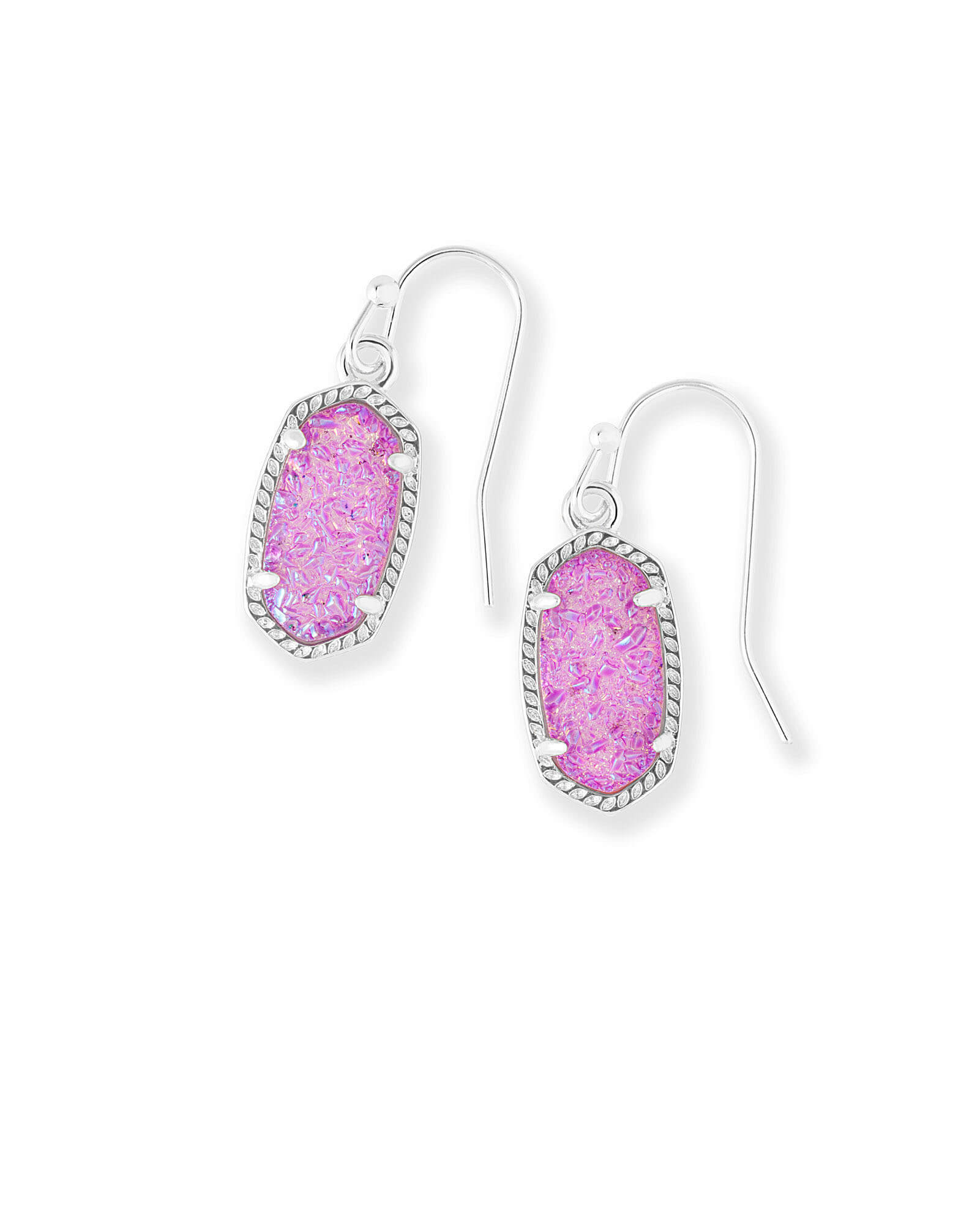 Lee Silver Drop Earrings in Violet Drusy