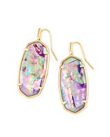 Faceted Elle Gold Drop Earrings in Lilac Abalone