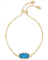 Elaina Gold Adjustable Chain Bracelet in Cobalt Drusy