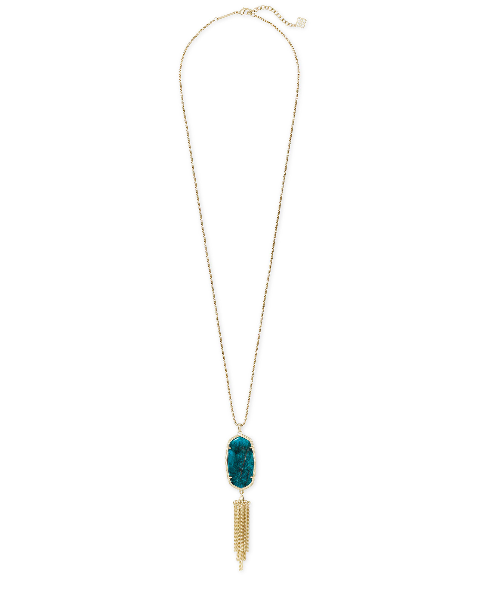 Rayne Gold Long Pendant Necklace in Aqua Apatite
