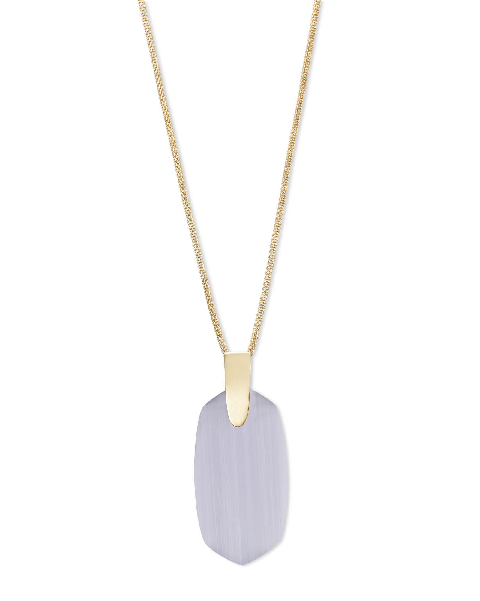 Inez Gold Long Pendant Necklace in Slate Cats Eye