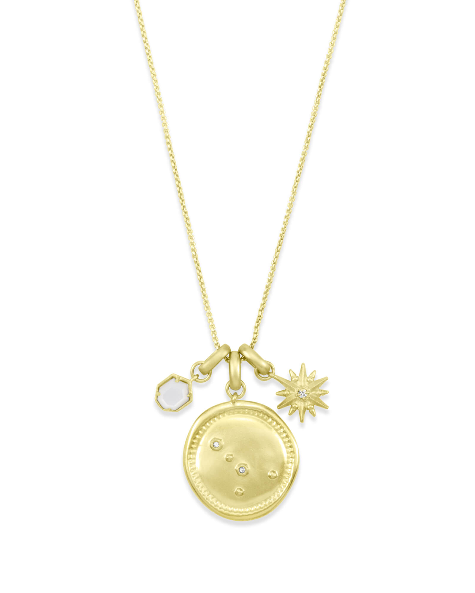 June Cancer Charm Necklace Set in Gold