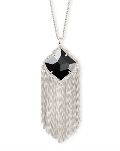 Kingston Silver Long Pendant Necklace in Black Opaque Glass