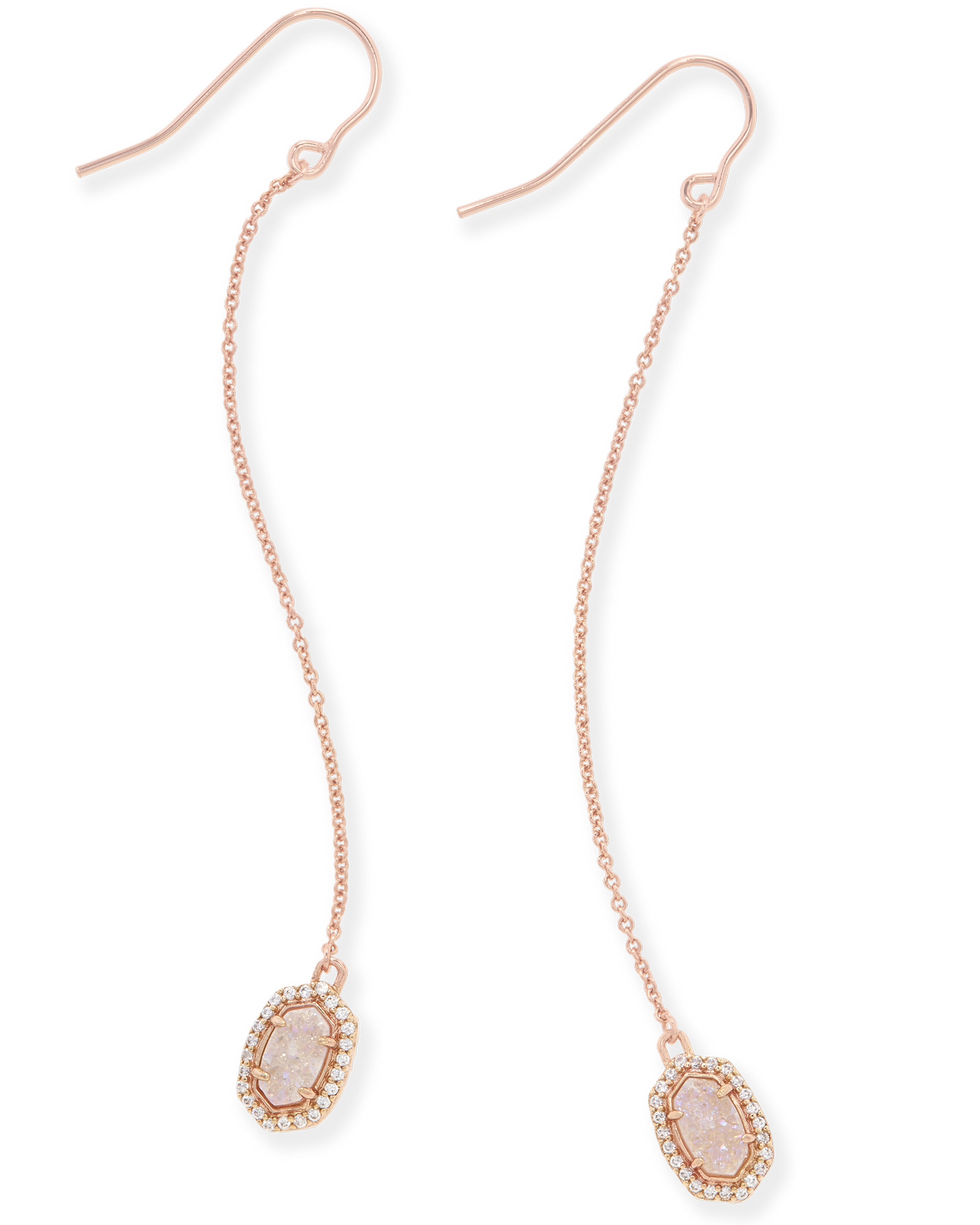 Caden Rose Gold Drop Earrings in Drusy Kendra Scott