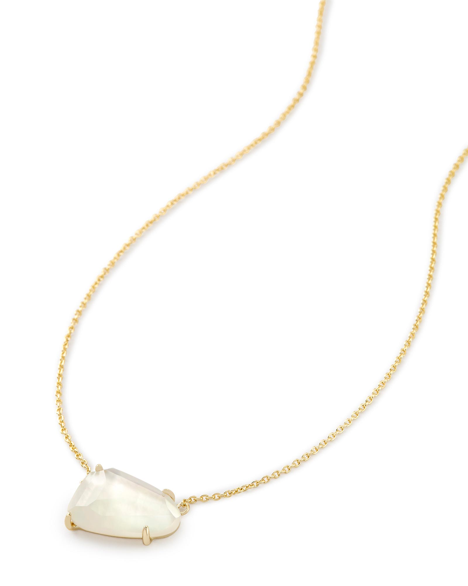 Isla Gold Pendant Necklace in Ivory Pearl