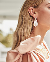 Camila Gold Drop Earrings in Peach Pearl