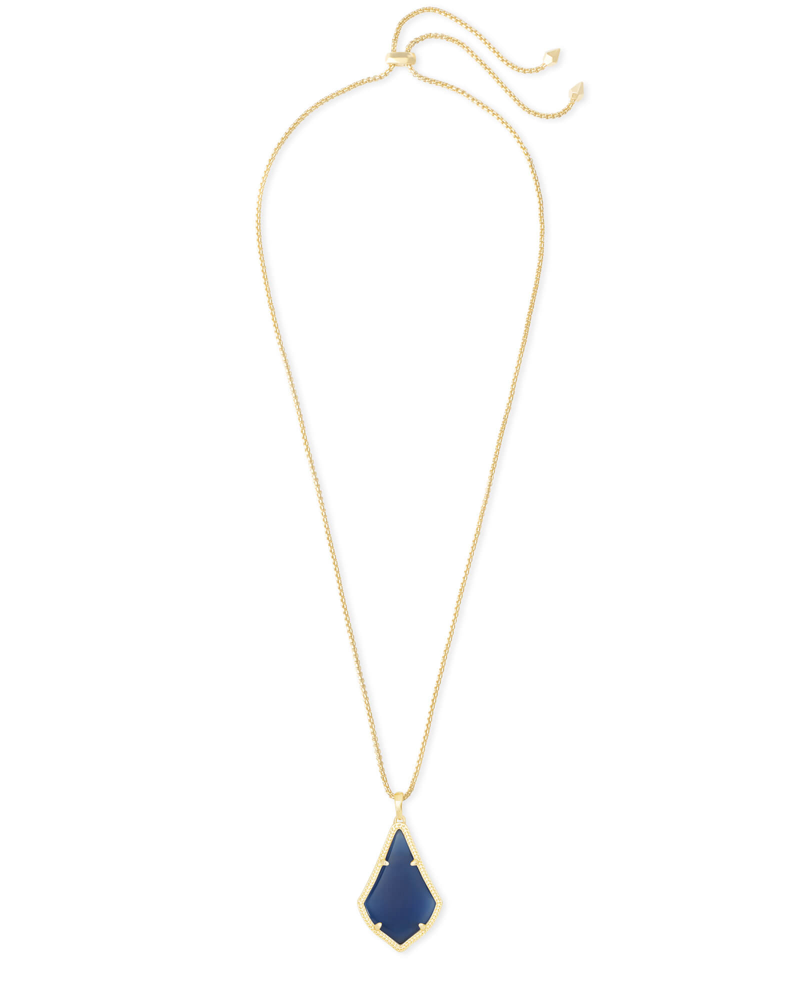 Alex Gold Pendant Necklace in Navy Cat's Eye
