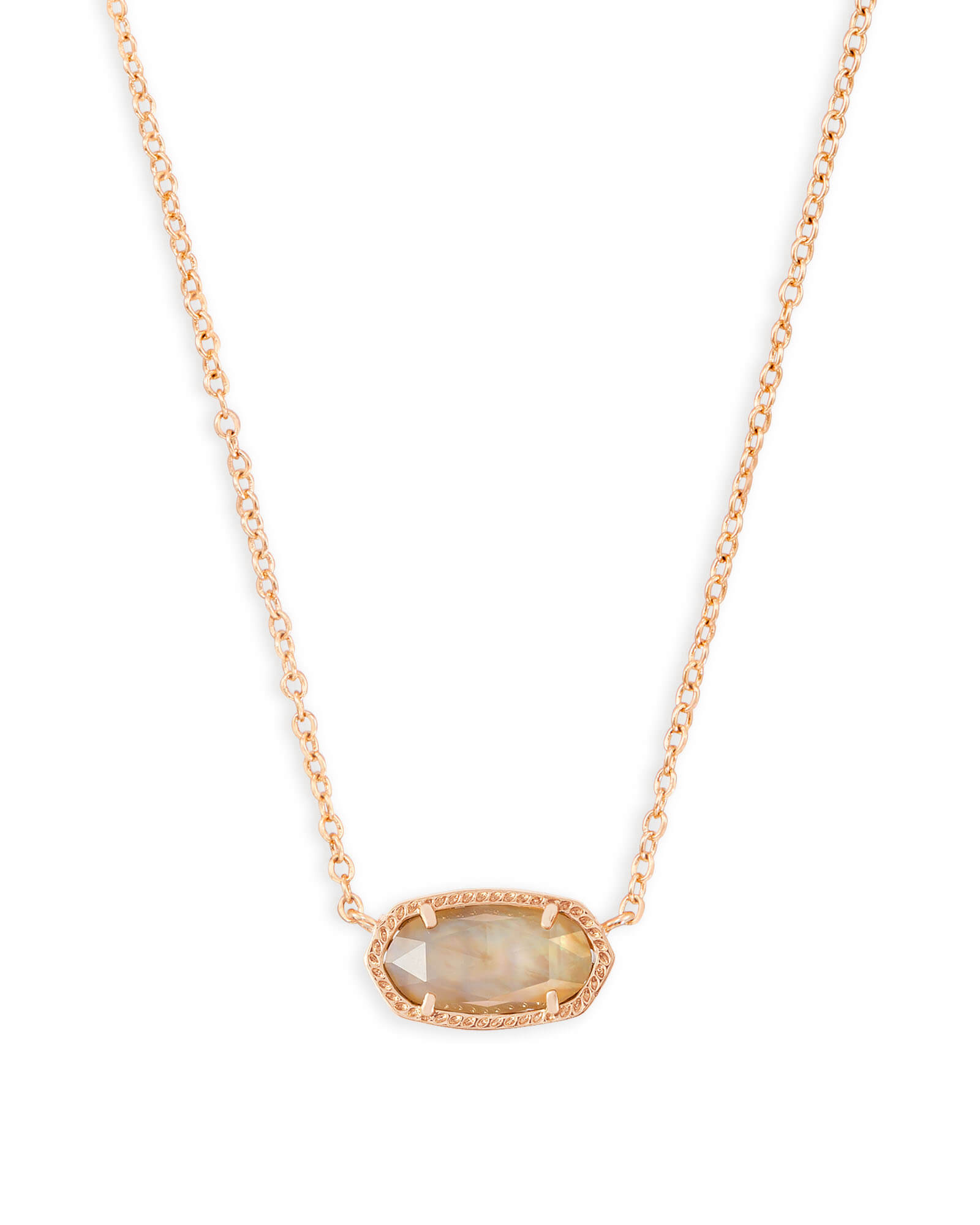 Elisa Rose Gold Pendant Necklace in Brown Mother of Pearl