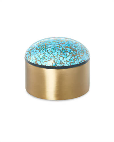 Decorative Brass Box in Bronze Veined Turquoise