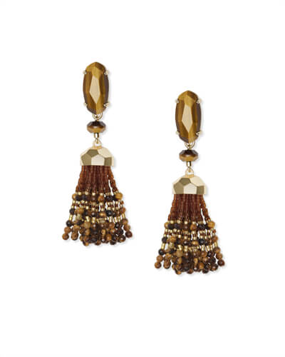 Dove Gold Statement Earrings in Brown Tigers Eye