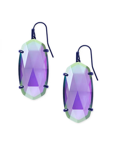 Esme Navy Gunmetal Drop Earrings In Indigo Dichroic Glass