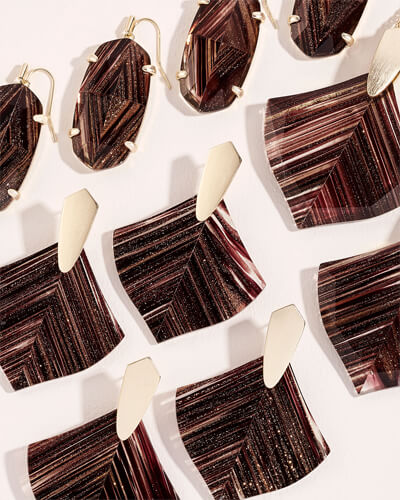 Esme Gold Drop Earrings in Brown Dusted Glass