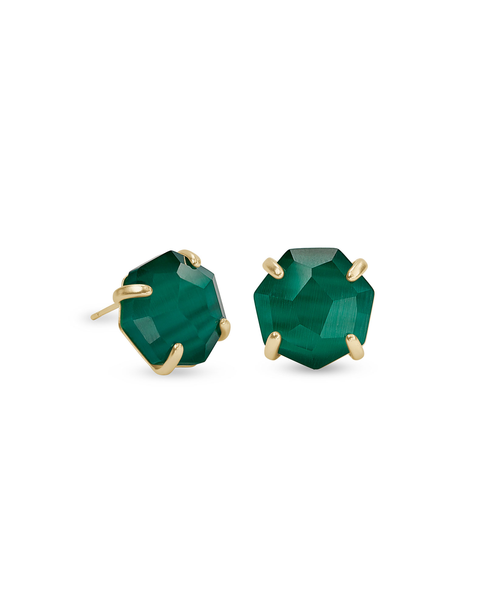 Ryan Gold Stud Earrings in Emerald Green Cat's Eye