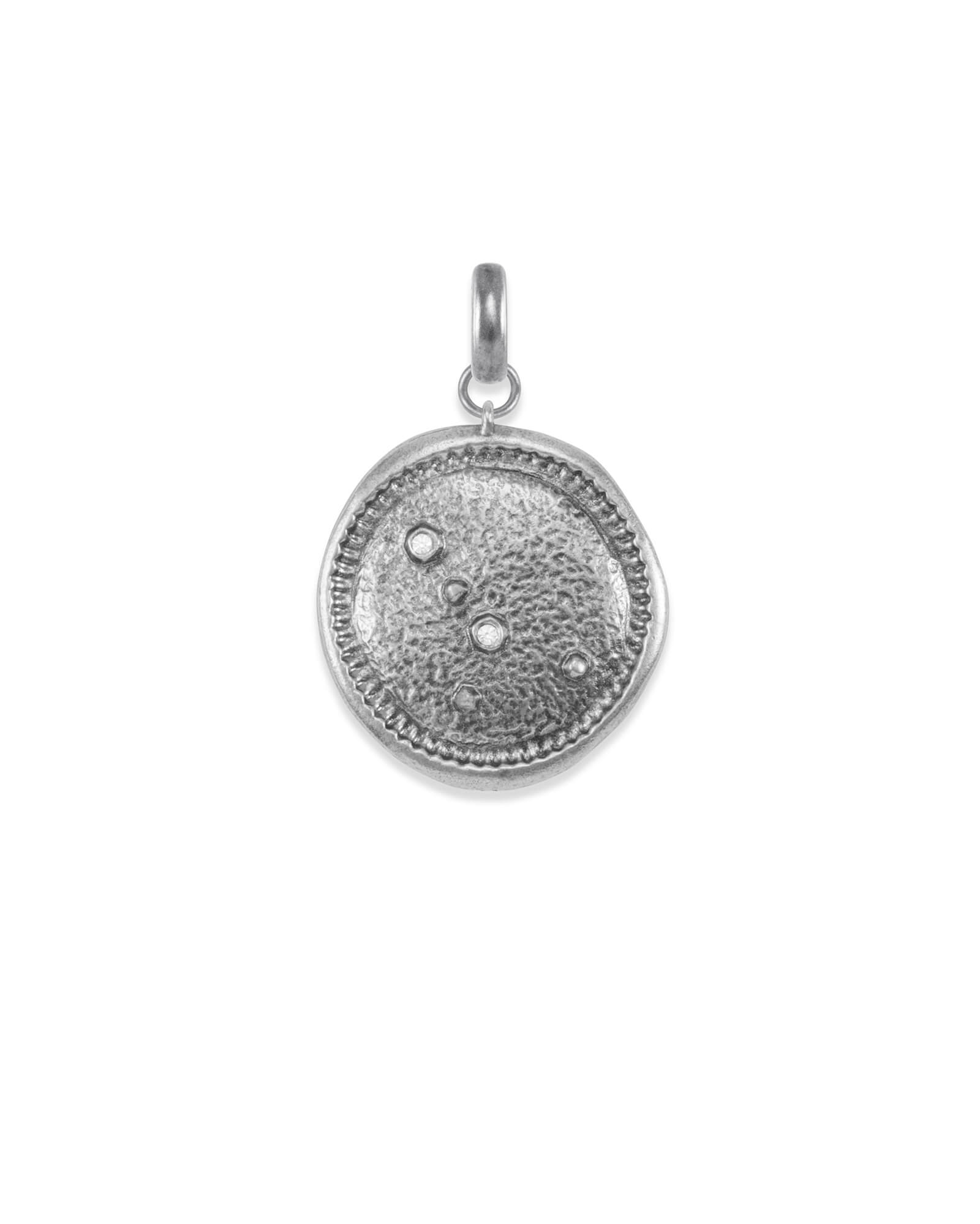 Cancer Coin Charm in Vintage Silver