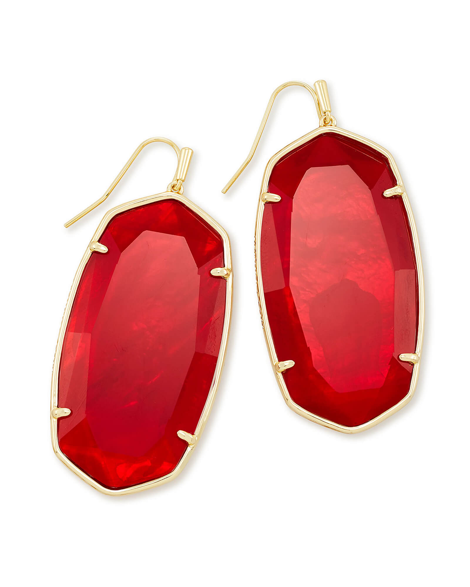 Faceted Danielle Gold Statement Earrings in Cherry Red Illusion