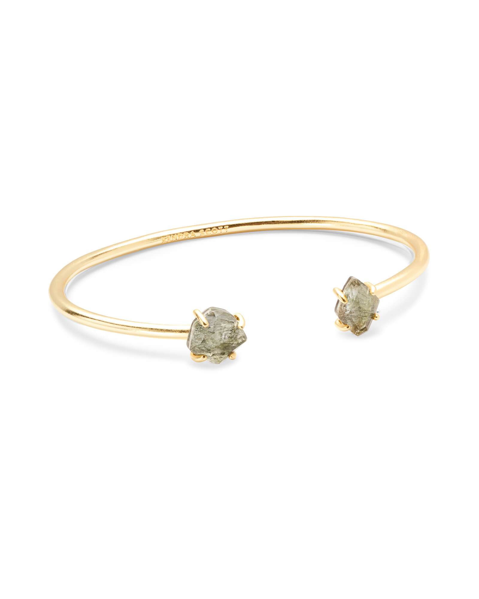 Merida Gold Pinch Cuff Bracelet in Sage Mica