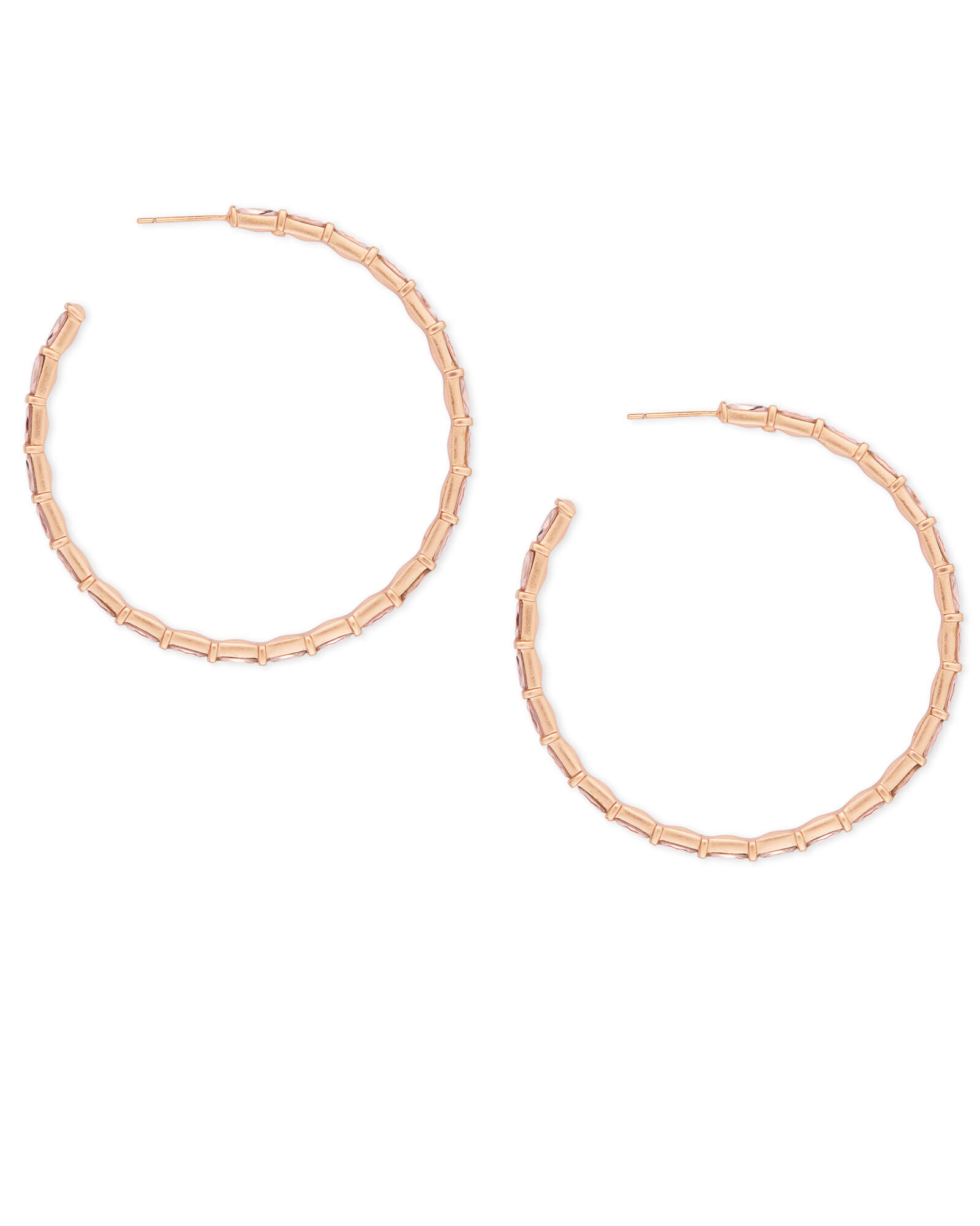 Thora Rose Gold Hoop Earrings in Blush Crystal