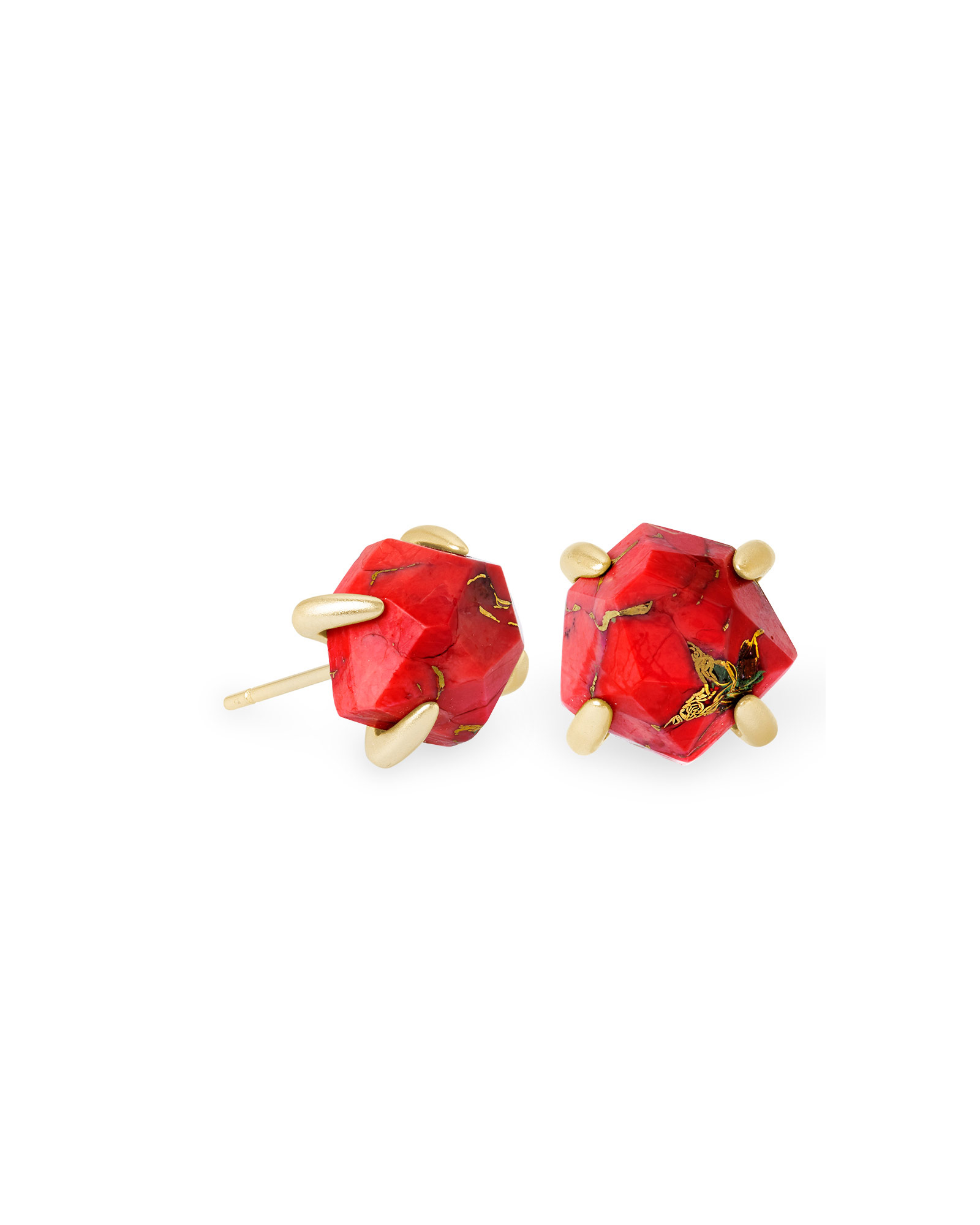Ellms Gold Stud Earrings in Bronze Veined Red Magnesite