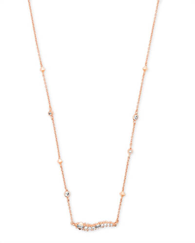 Kim Rose Gold Pendant Necklace in White CZ