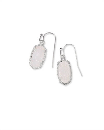 Lee Silver Drop Earrings in Iridescent Drusy