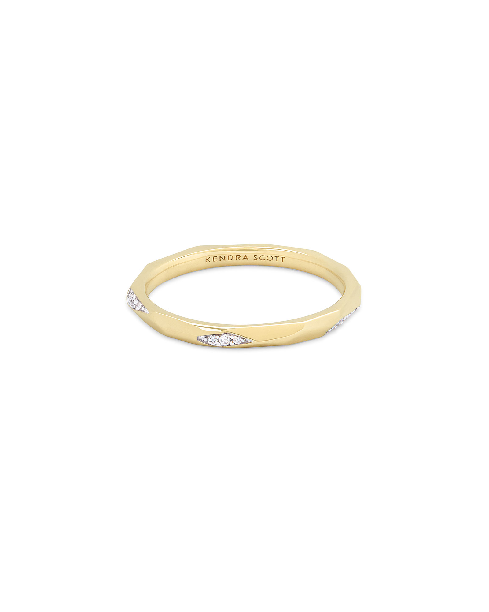 Sade 14k Yellow Gold Band Ring in White Diamond