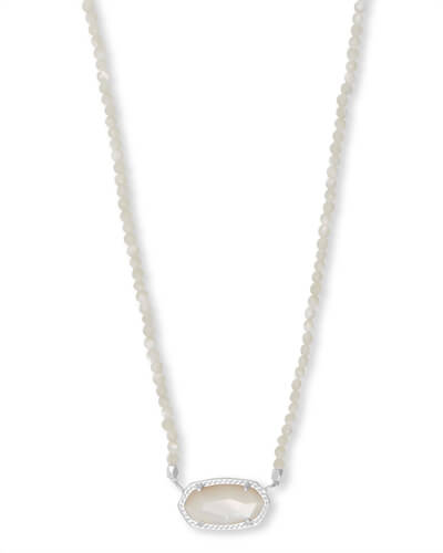 Elisa Silver Beaded Pendant Necklace in Ivory Pearl