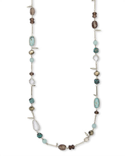 Ruth Silver Long Necklace In Turquoise Mix