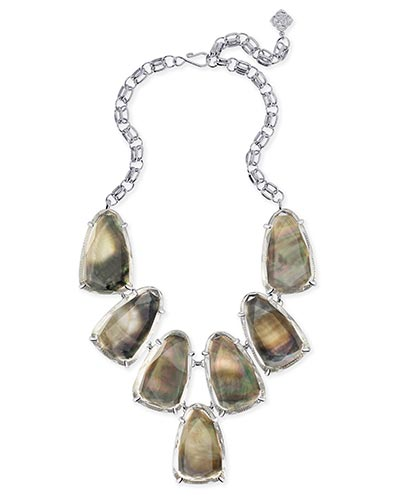 Harlow Statement Necklace in Suspended Black Pearl