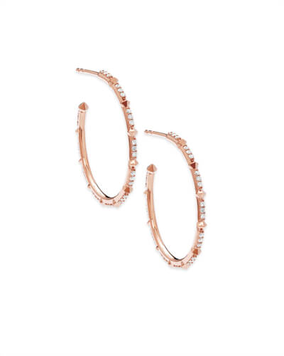 Cybil 14k Rose Gold Earrings in White Diamond
