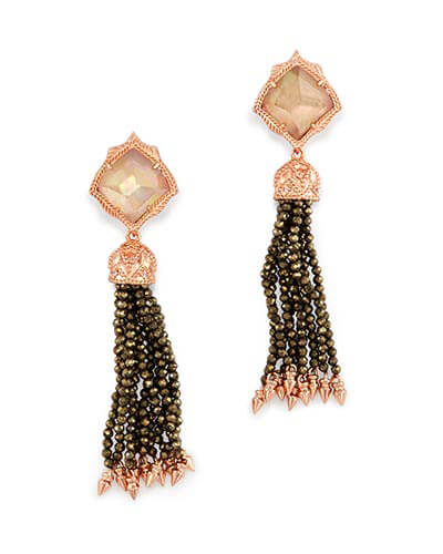 Misha Statement Earrings in Brown Pearl