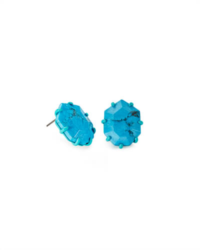 Morgan Matte Stud Earrings in Aqua Howlite