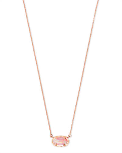Ember Rose Gold Pendant Necklace in Light Pink Opal