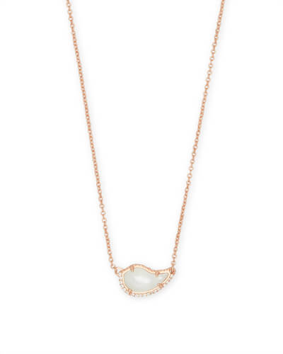 Tansy Rose Gold Pendant Necklace in Ivory Pearl