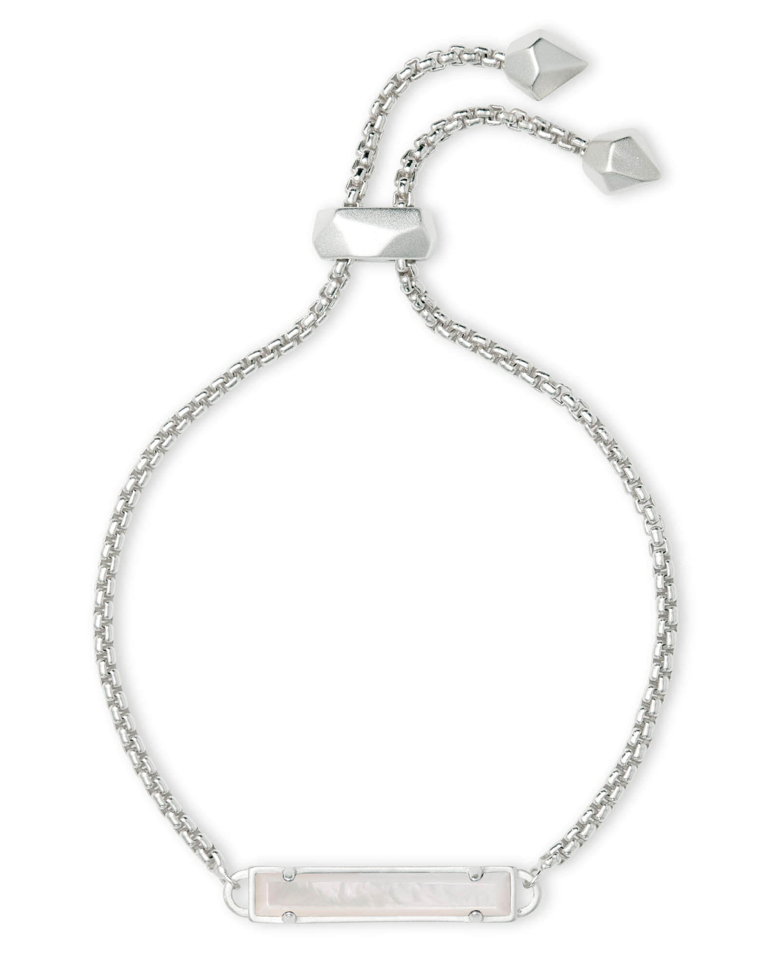 Stan Silver Adjustable Chain Bracelet in Ivory Pearl