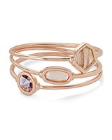 Natalia Rose Gold Bangle Bracelet in Peach Mix