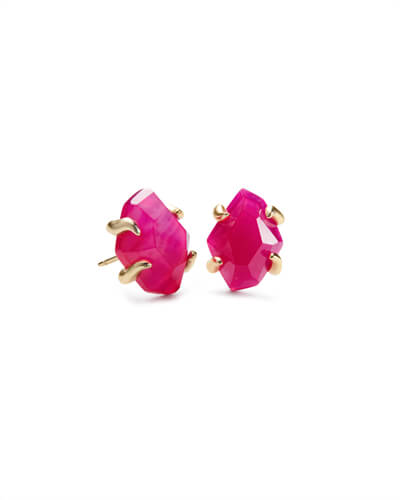 Inaiyah Gold Stud Earrings In Pink Agate