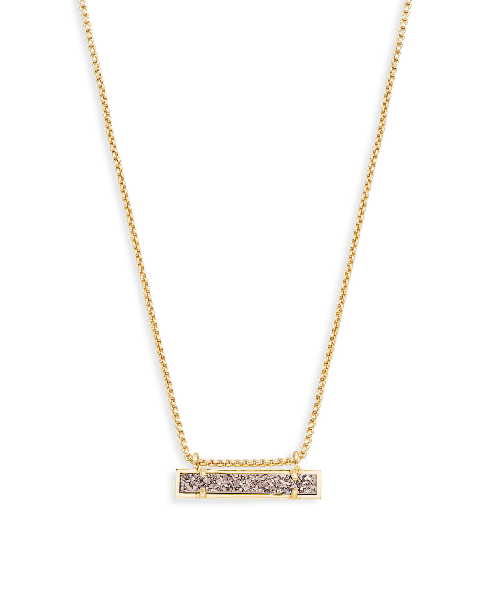 Leanor Gold Pendant Necklace in Platinum Drusy