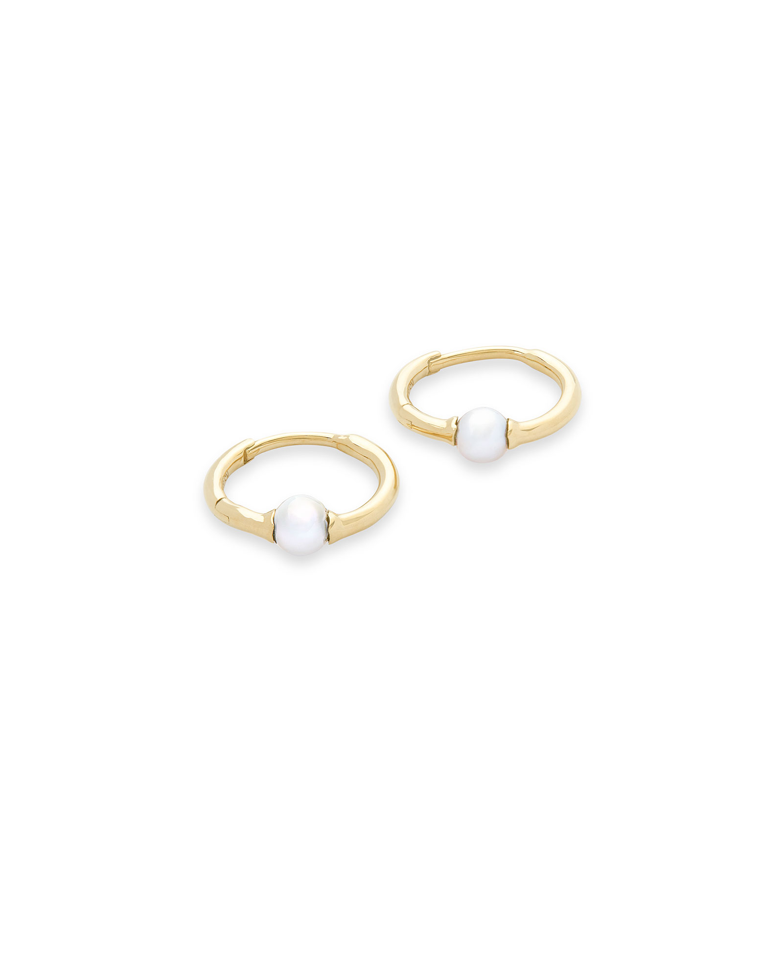 Cathleen 14k Yellow Gold Huggie Earrings in Pearl