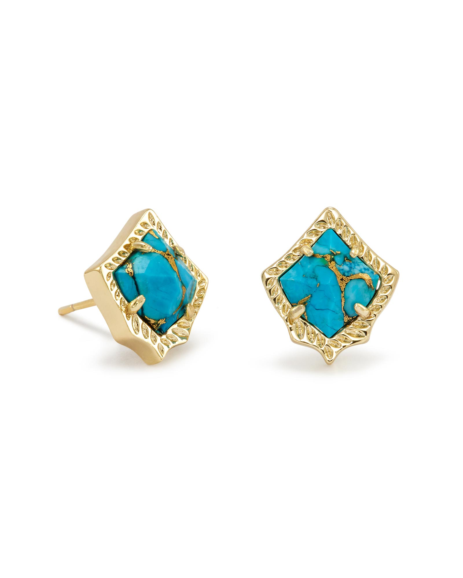 Kirstie Stud Earrings in Bronze Veined Turquoise