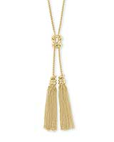 Presleigh Love Knot Y Necklace in Gold