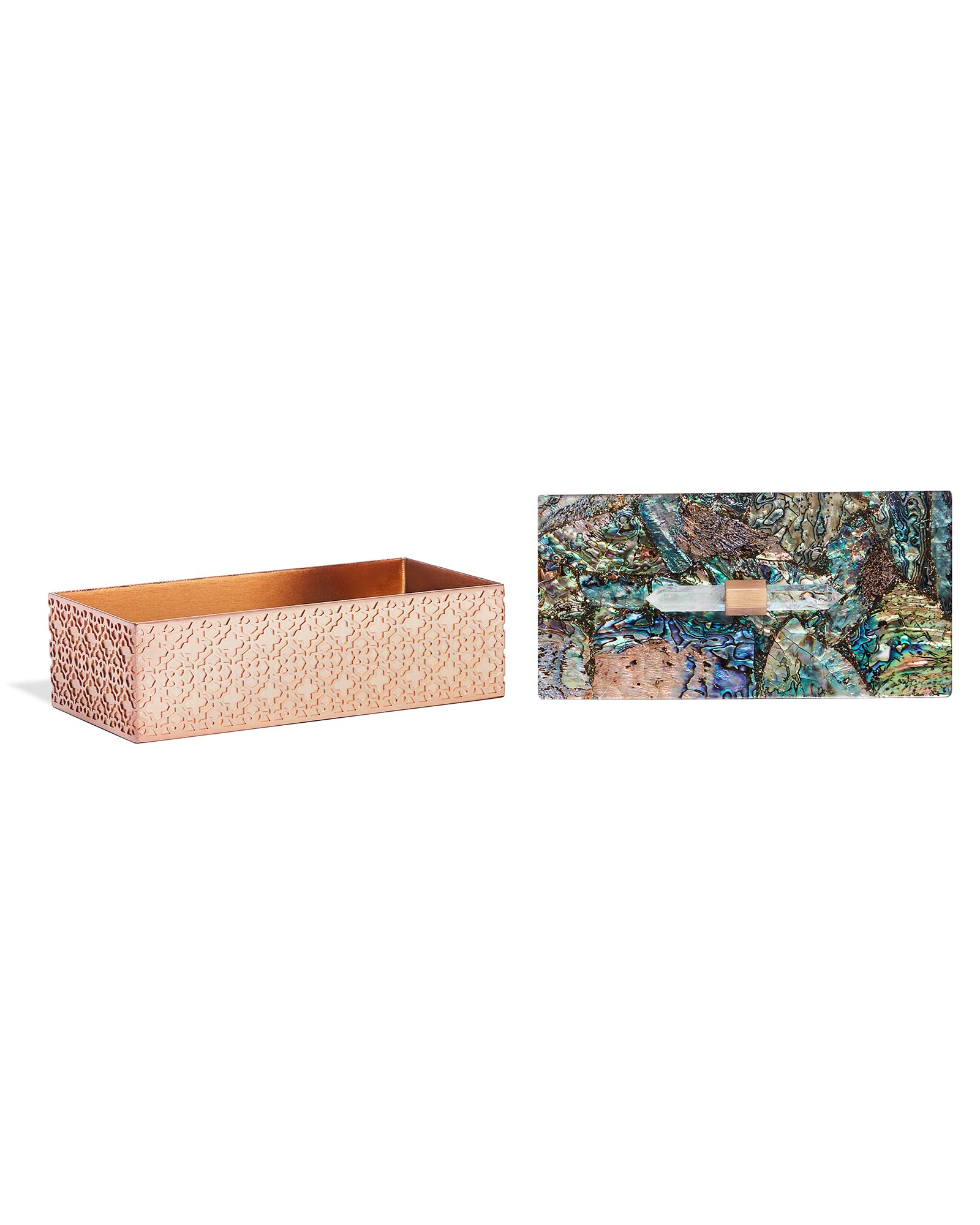 Rectangular Filigree Box in Crackle Abalone Shell
