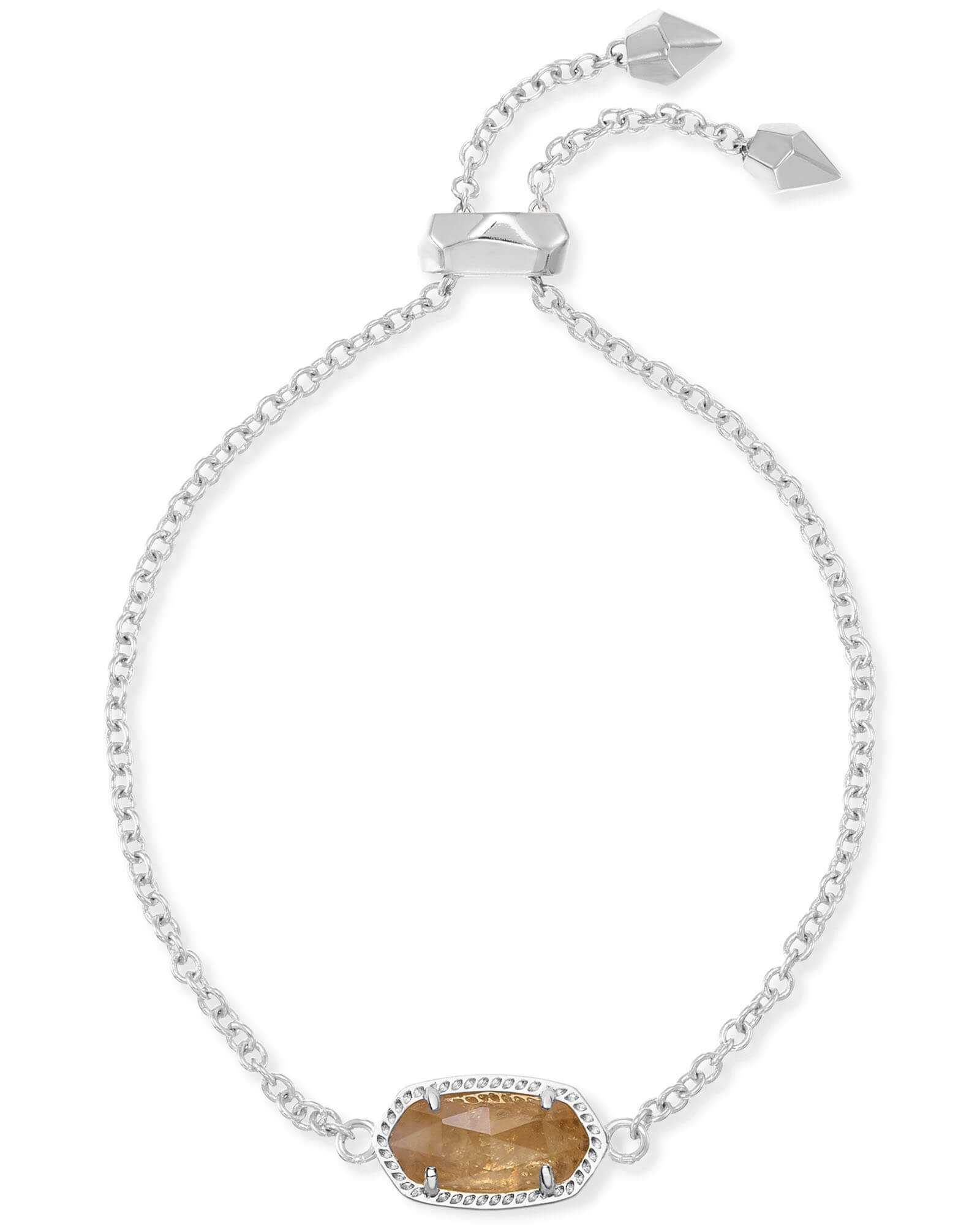 Elaina Silver Adjustable Chain Bracelet in Citrine