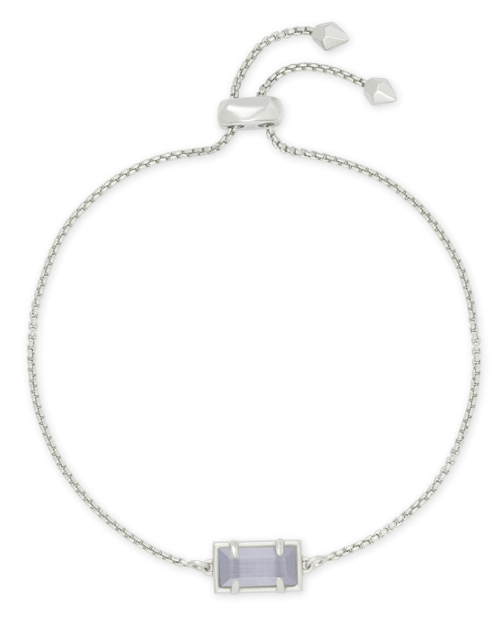 Phillipa Silver Chain Bracelet in Slate Cats Eye