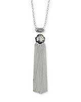Tae Silver Pendant Necklace in Platinum Drusy