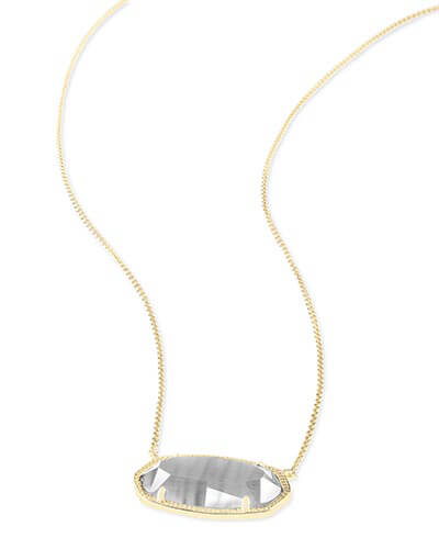 Delaney Gold Pendant Necklace in Slate