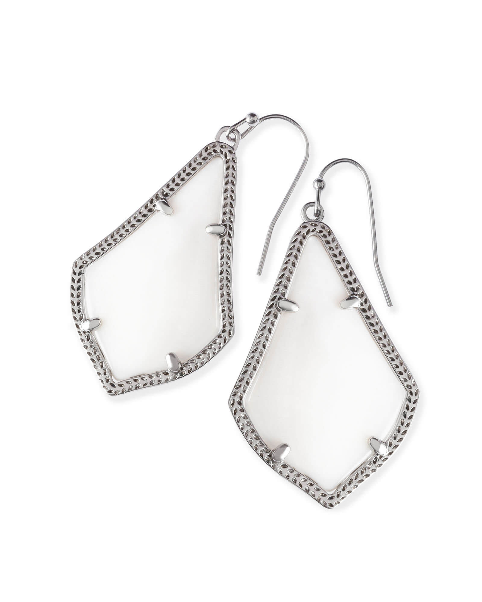 Alex Silver Drop Earrings in White Pearl