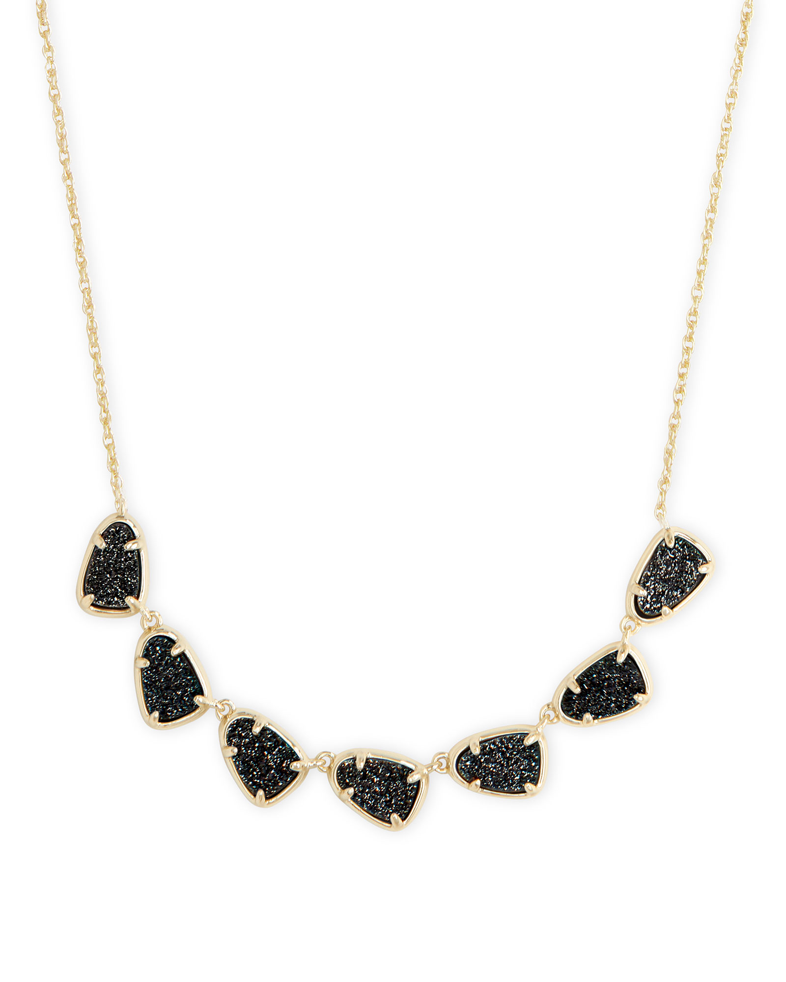 Susanna Gold Collar Necklace in Black Drusy