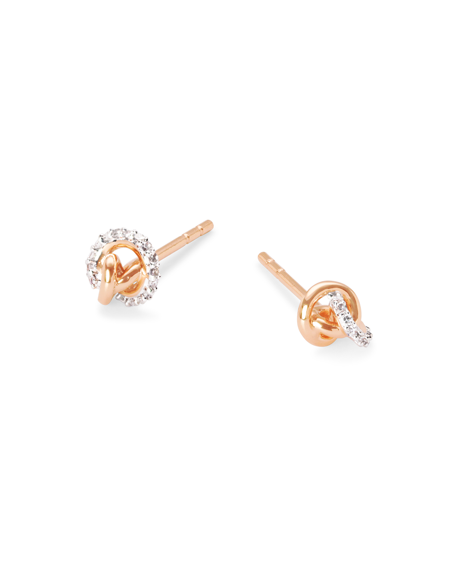 Love Knot 14K Rose Gold Stud Earring in White Diamond