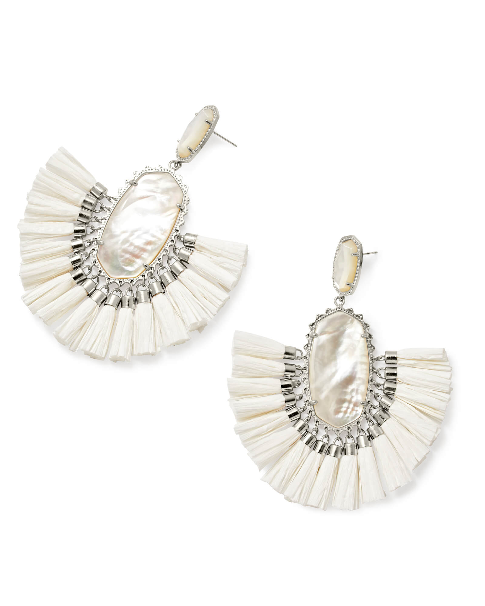Cristina Silver Statement Earrings In Ivory Mother of Pearl