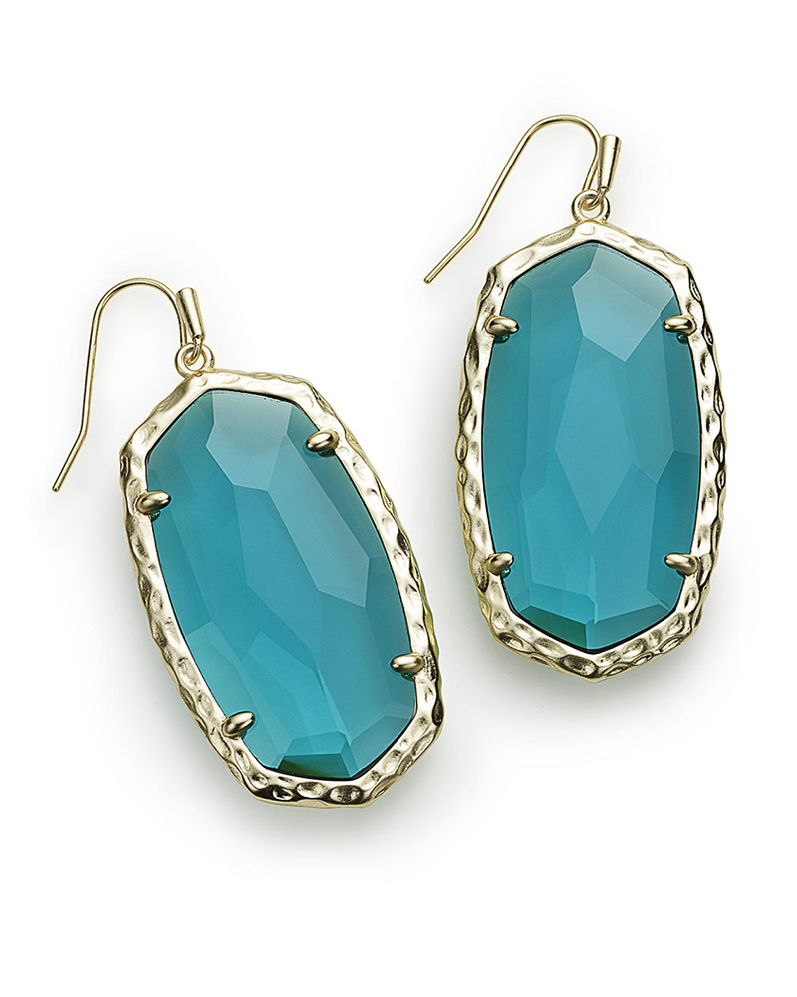 Ella Gold Drop Earrings In London Blue